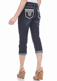 New Directions Weekend Stud Embroidered Bling Crop Jeans