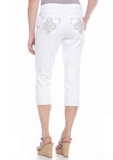 New Directions Weekend Bling Fleur De Lis Jean Capris
