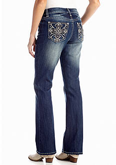 New Directions® Weekend Jeweled Lace Cross Boot Cut Jean
