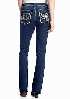 New Directions® Weekend Wing Cross Pocket Boot Cut Jeans