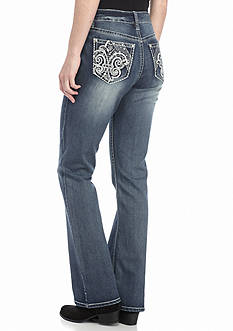 New Directions Weekend Fleur De Lis Bootcut Jeans