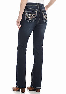 New Directions Weekend Colored Stitch Flap Pocket Bootcut Jeans