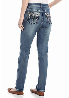 New Directions Weekend Aztec Stitched Straight Leg Jeans