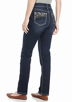 New Directions Weekend Embellished Straight Leg Jeans