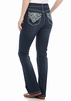New Directions Weekend Flower Pocket Bootcut Jeans