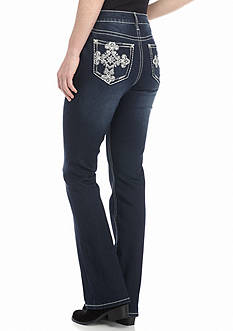 New Directions Weekend Embellished Scroll Cross Bootcut Jeans