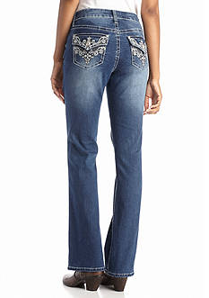 New Directions Weekend Embroidered Flap Pocket Bootcut Jeans