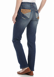 New Directions Weekend Faux Suede Pocket Jeans