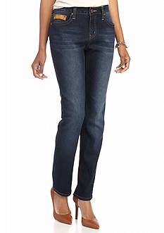 New Directions Weekend Faux Suede Flap Pocket Jeans