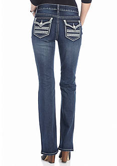 New Directions Weekend Embroidered Flap Bootcut Jeans