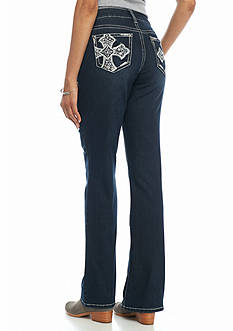 New Directions Weekend Embellished Cross Bootcut Jeans