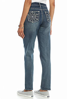 New Directions Weekend Flower Medallion Straight Leg Jeans