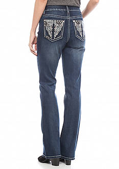 New Directions Weekend Embellished Wing Color Stitch Bootcut Jeans
