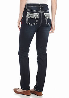 New Directions Weekend Lace Border Embroidered Jeans