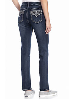 New Directions Weekend Rhinestone Stitch Straight Leg Jeans