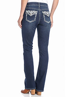 New Directions Weekend Fleur De Lis Embroidered Bootcut Jean