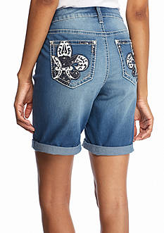 New Directions Weekend Bling Fleur De Lis Jean Shorts