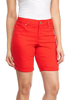 New Directions Weekend Embellished Twill Cuff 9-in. Shorts