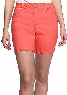New Directions Weekend Embellished Twill Cuff 7-in. Shorts