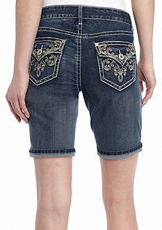 New Directions Weekend Crochet Embroidered Jean Shorts