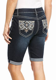 New Directions Weekend Bling Tribal Jean Shorts