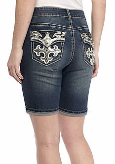 New Directions Weekend Bling Sequined Fleur De Lis Jean Shorts