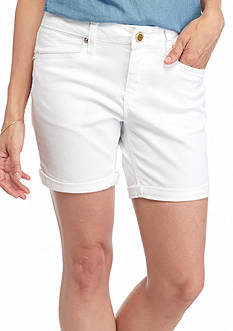 New Directions Weekend Embellished Twill Cuff 5-in. Shorts