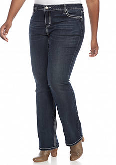 New Directions Weekend Plus Size Studded Wing Pocket Bootcut Jeans