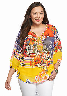 New Directions Plus Size Printed Woven Top