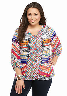 New Directions Plus Size Multi Print Peasant Blouse