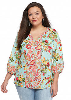 New Directions Plus Size Clara Floral Top