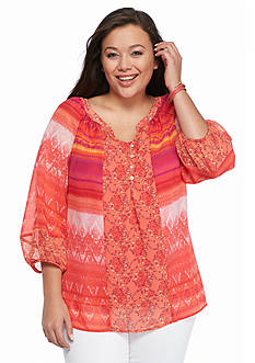 New Directions Plus Size Clara Printed Top