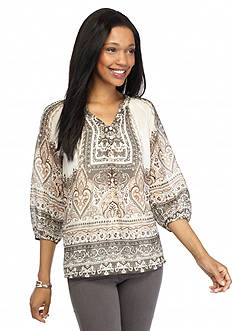 New Directions Paisley Popover Blouse