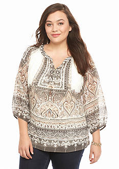 New Directions Plus Size Clara Border Print Top