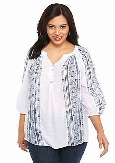 New Directions Plus Size Printed Gauze Top