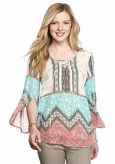 New Directions Lace Back Border Printed Blouse