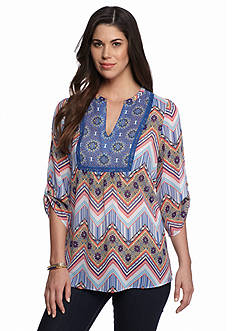 New Directions Floral Chevron Tunic Blouse