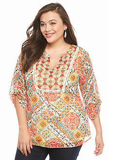 New Directions Plus Size Serena Printed Top