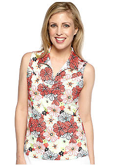 Pro Tour Sleeveless Decorative Floral Print Polo