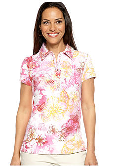 Gloria Vanderbilt Short Sleeve Printed Polo
