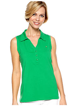 Gloria Vanderbilt Sleeveless Solid Polo