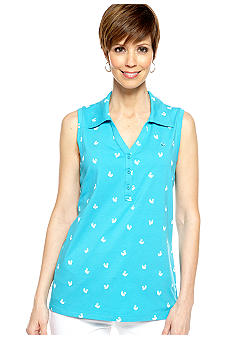 Gloria Vanderbilt Sleeveless Printed Polo