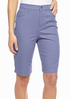 Gloria Vanderbilt Amanda Embellished Twill Bermuda Shorts