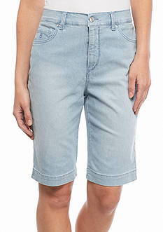 Gloria Vanderbilt Amanda Stripe Denim Bermuda Shorts