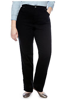 Gloria Vanderbilt Plus Size Amanda 5 Pocket Jean in Black Average Length