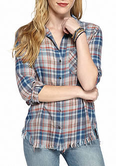 Cloth & Stone Frayed Hem Plaid Shirt