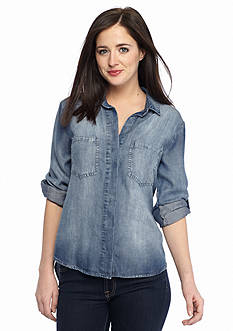 Cloth & Stone Chambray Split Back Button Down Top