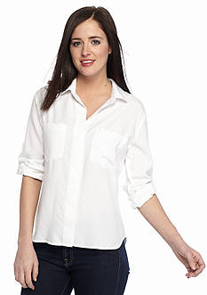 Cloth & Stone Split Back Button Down Top