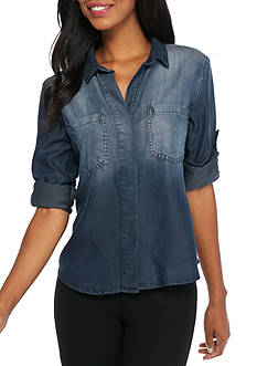Cloth & Stone Split Back Chambray Shirt