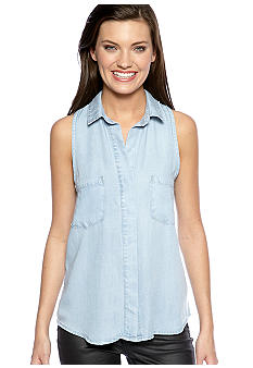 Cloth & Stone Sleeveless Split Back Chambray Blouse